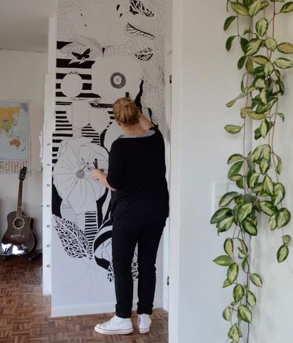 Vægmaleri, vinduesmaleri, vægdekoration, vinduesdekoration