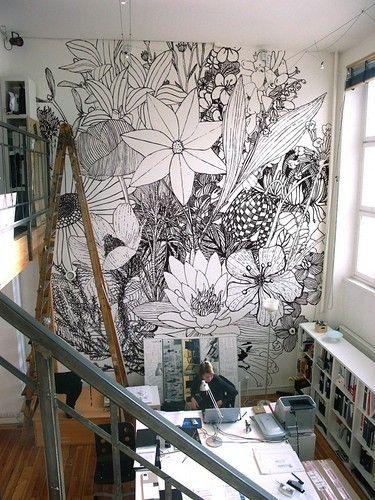 Vægmaleri på arbejdet