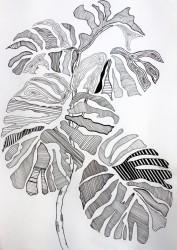 Blade på gren - Udkast til vægmaleri