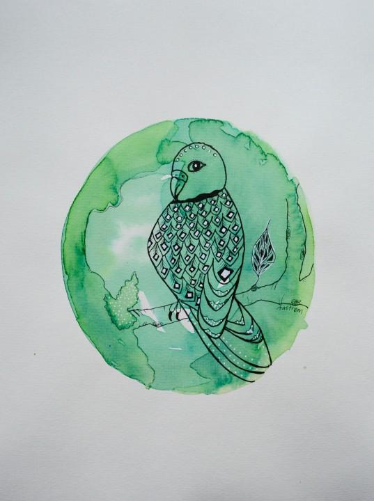 Grøn fugl (vælg med eller uden tekst)