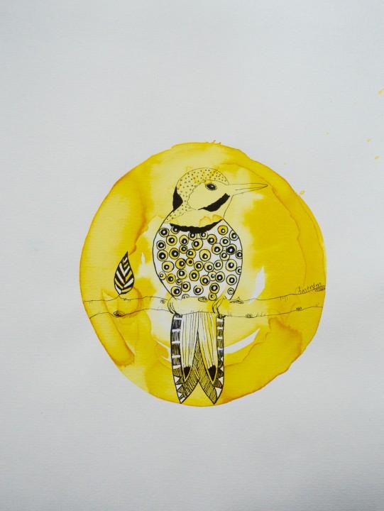 Gul fugl (solgt med kunstnerens tekst)