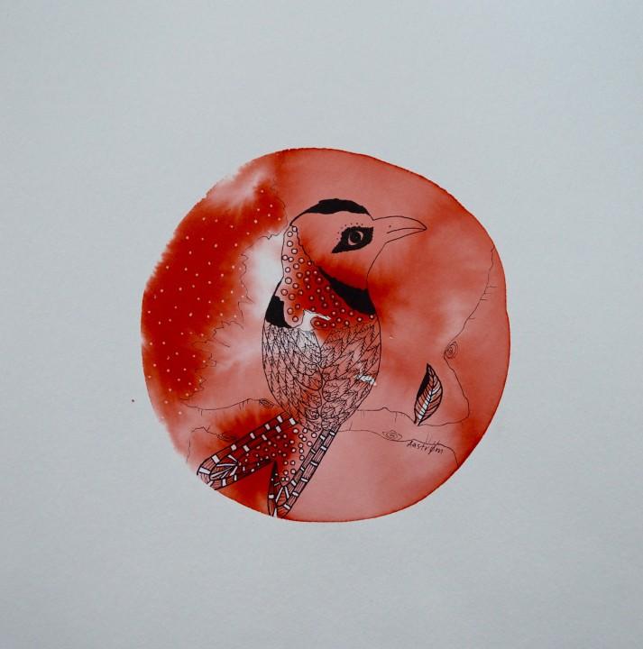Orangerød fugl (vælg med eller uden tekst)
