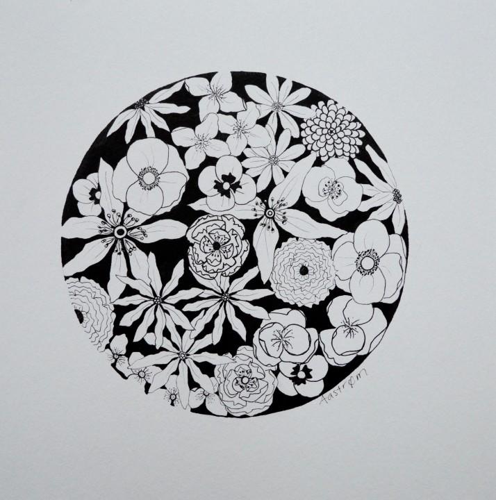Sort blomsterbuket