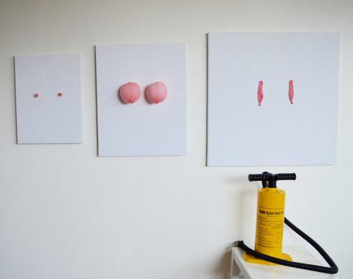 installations kunst , kunstinstallation, kunst, bryster, ballaoner