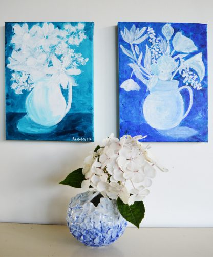 Nordisk blå, blomstermaleri, Flora Danica, stilleben, maleri, still life, royal copenhagen, nordisk, blomst