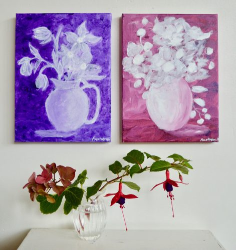 Nordisk lilla, blomstermaleri, maleri