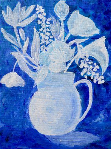 Nordisk blå, blomstermaleri