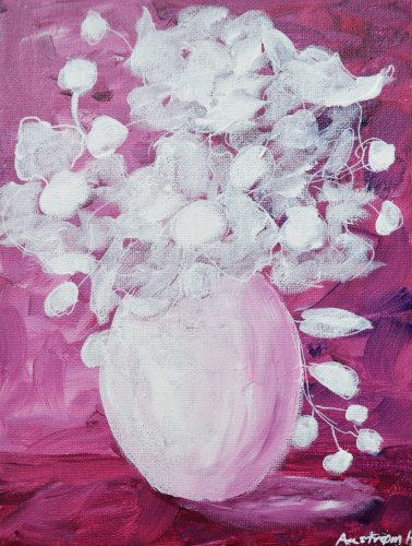 Nordisk lilla, blomstermaleri, kunst for alle