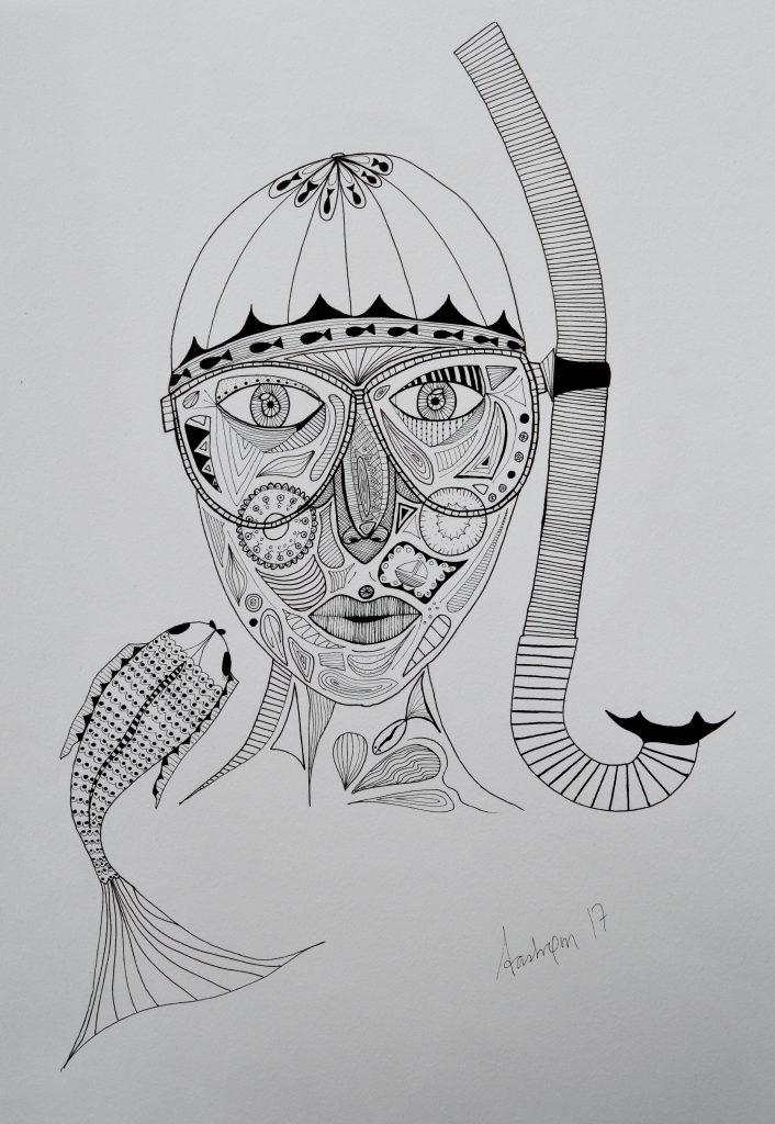 illustration, dykke, zentangle