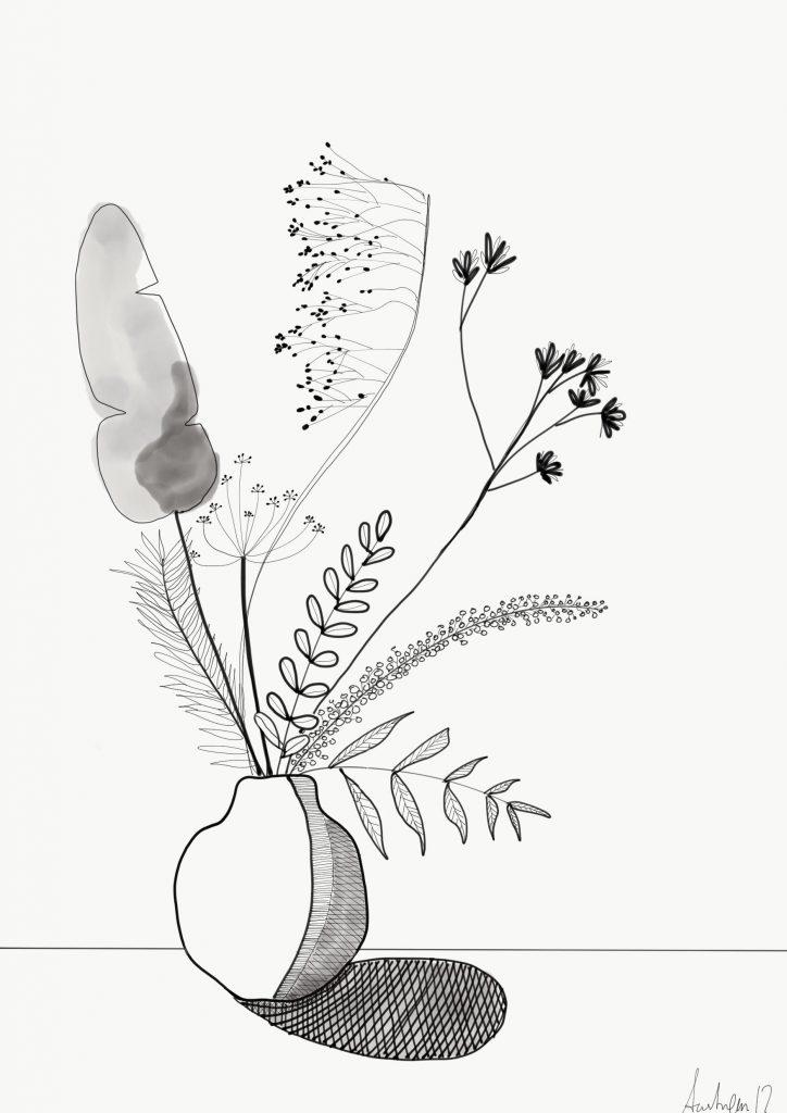 illustration, blade og bær i vase