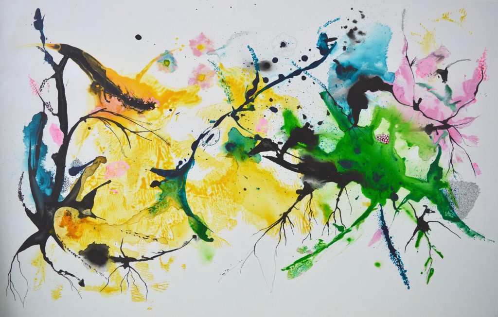 maleri, krat, mixedmedia, abstrakt