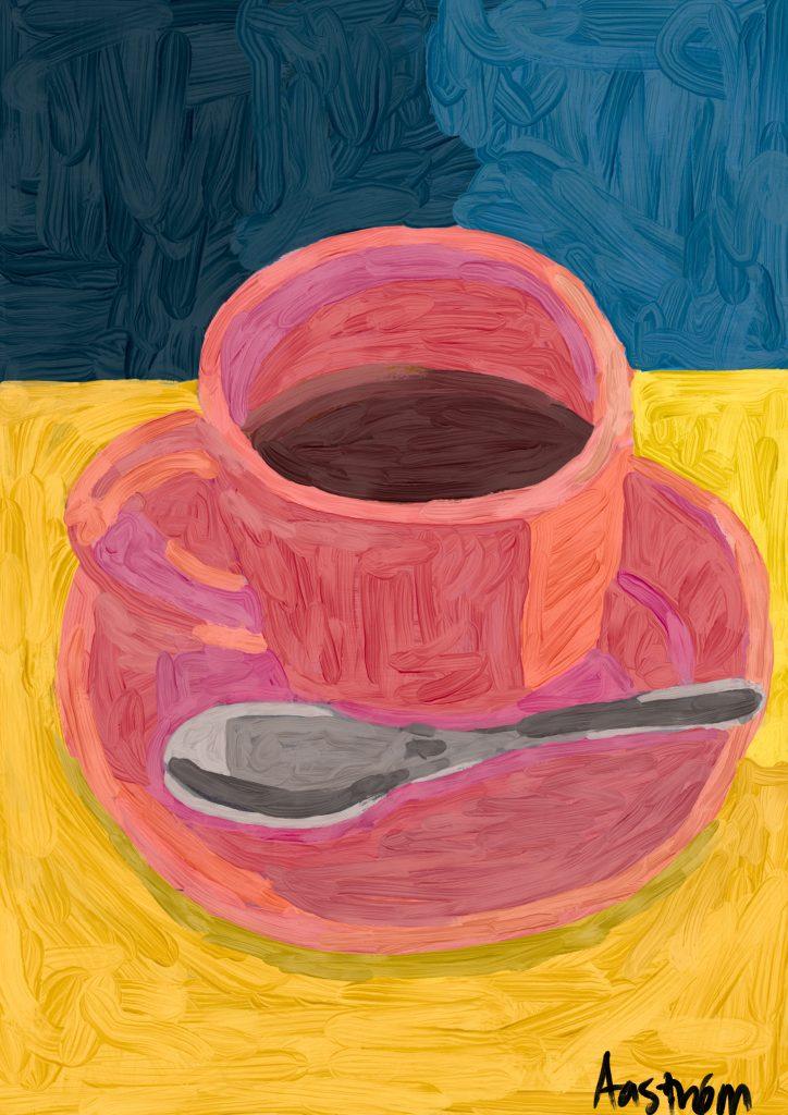 maleri, kaffe