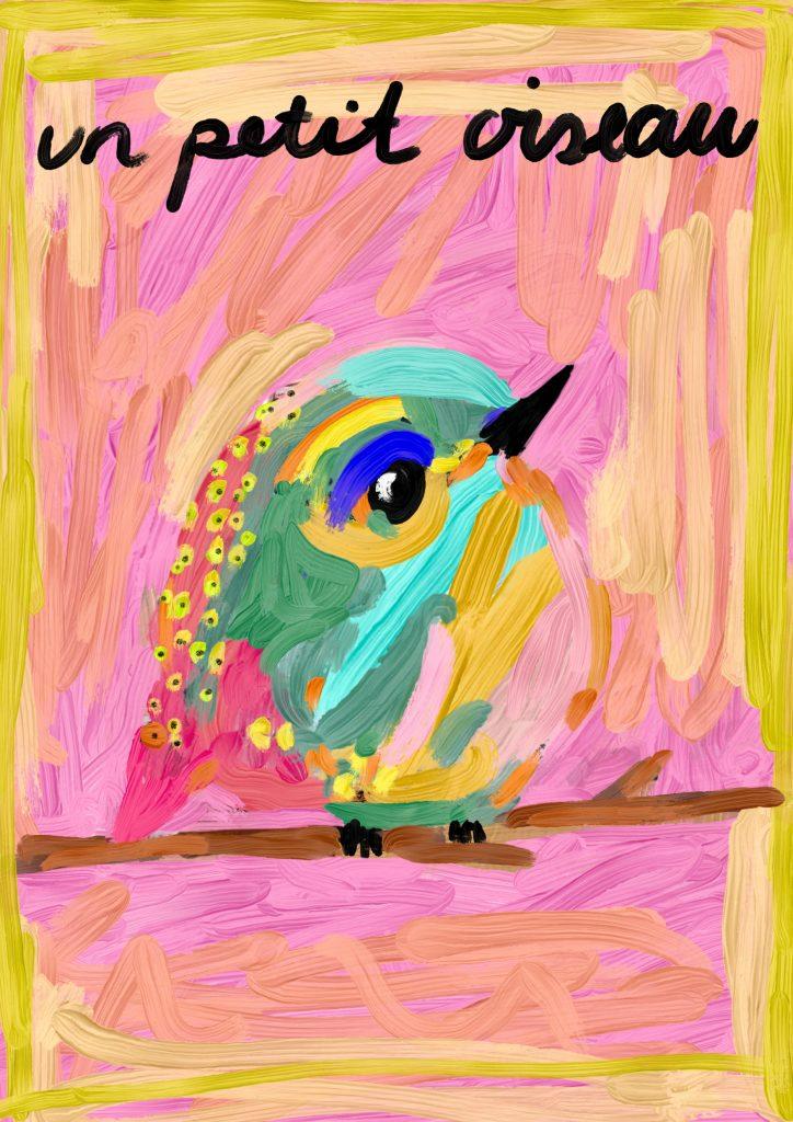 Maleri, print, un petit oiseau, digitalkunst, digitalart