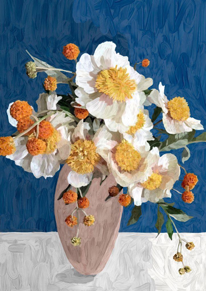 Digitalt maleri, maleri, blomster
