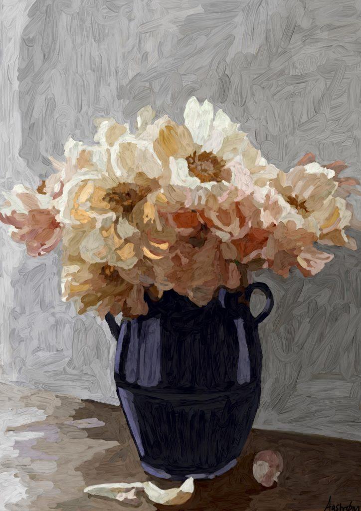 Maleri, blomstermaler, stilleben, still life, digital art, digital kunst, Royal Copenhagen, flora danica