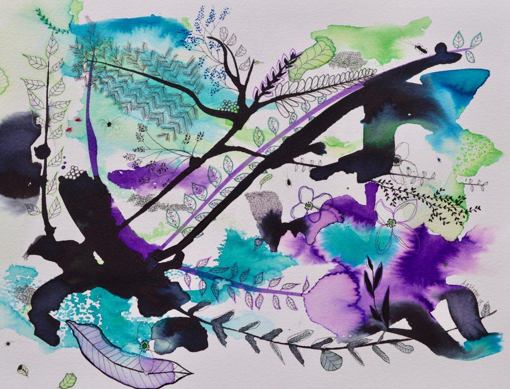 Maleri, botanik, botanic, painting, mixedmedia