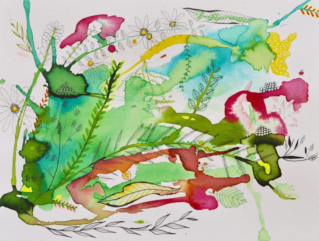 painting, maleri, mixed media, botanik, botanic, art, kunst, blomst, blomstermaleri