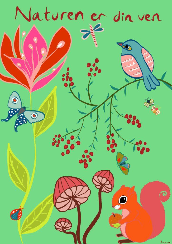 plakat til børneværelset, naturen er din ven, børneværelse, illustration