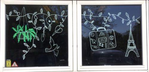Vinduemaleri, vindueskunst, vindues illustrationer, window art, vindues dekoration, window decoration