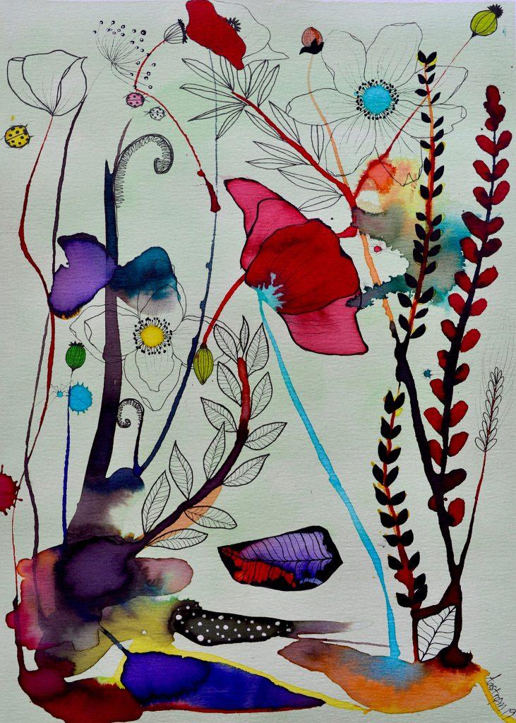 Blomstermaleri, botanik, botaniskmaleri, bjørn wiinblad, botany art, botanical art, botanisk kunst, valmue, valmue maleri