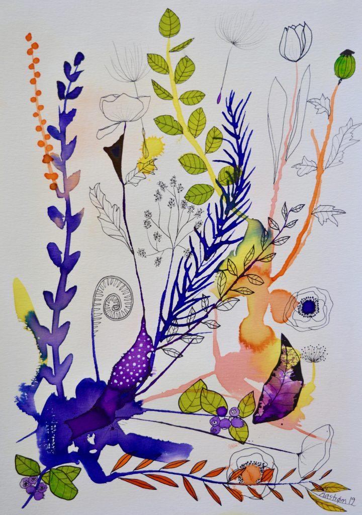Bjørn Wiinblad, botanik, botaniskmaleri, blomstermaleri, botanical painting, blåbær