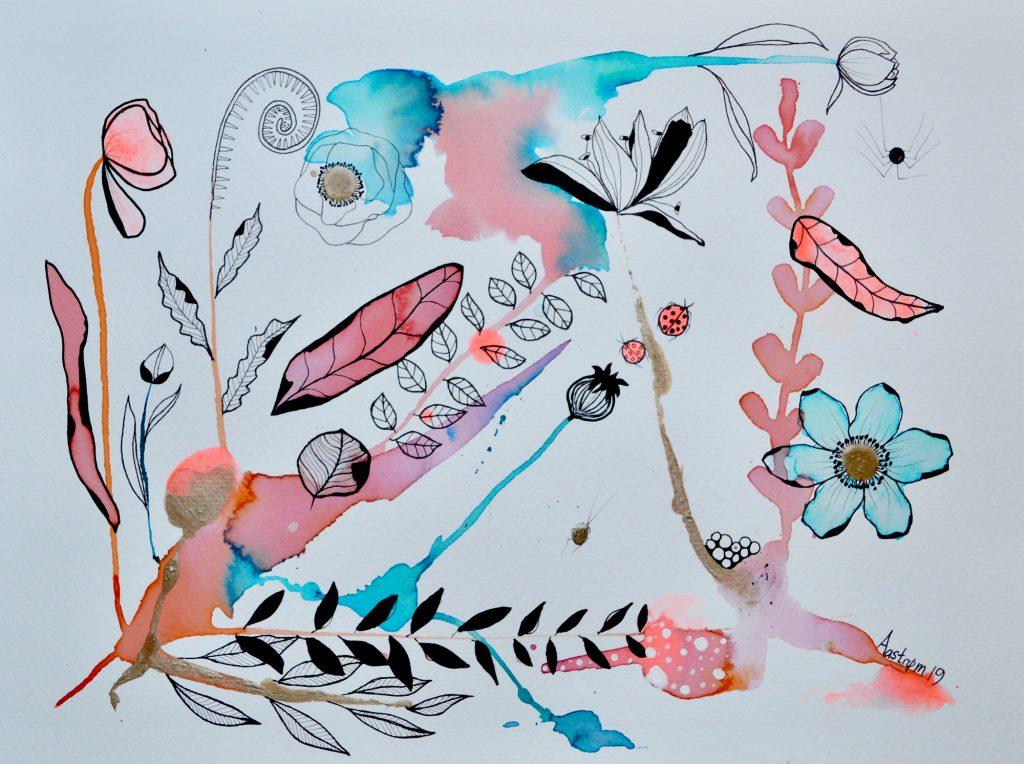 bjørn wiinblad, botanisk illustration, akvarel, blomster maleri, botanik, sylfide, sylfiden, akvarel