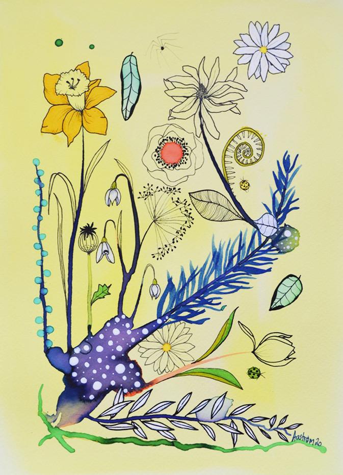 bjørn wiinblad, botanisk illustration, påskelilje, blomstermaleri, botanicalillustration