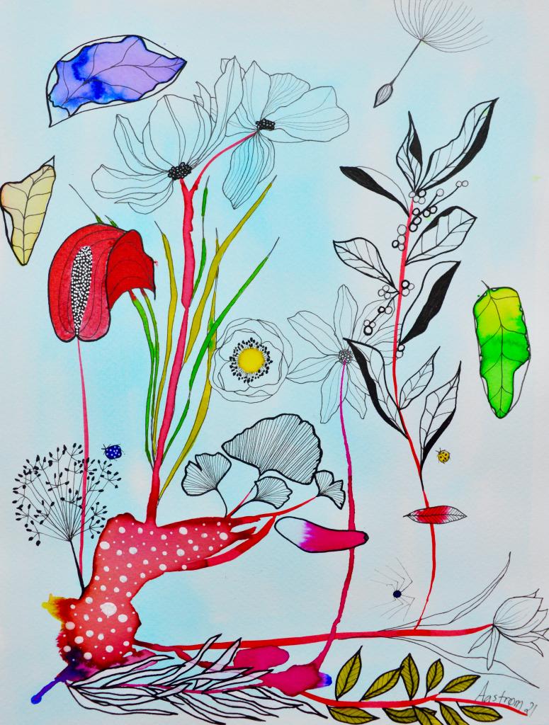 botanik, botanisk illustration, bjørn wiinblad, blomster maleri