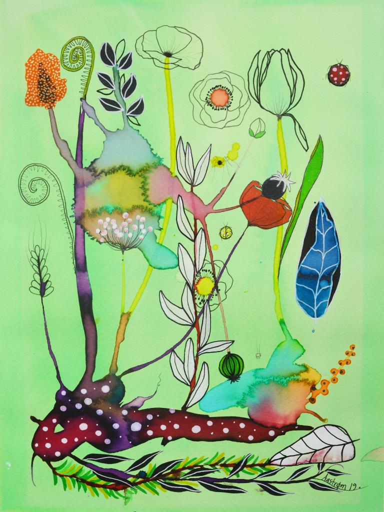 Kunst, bjørn Wiinblad, botanik, blomster maleri, botanisk illustration