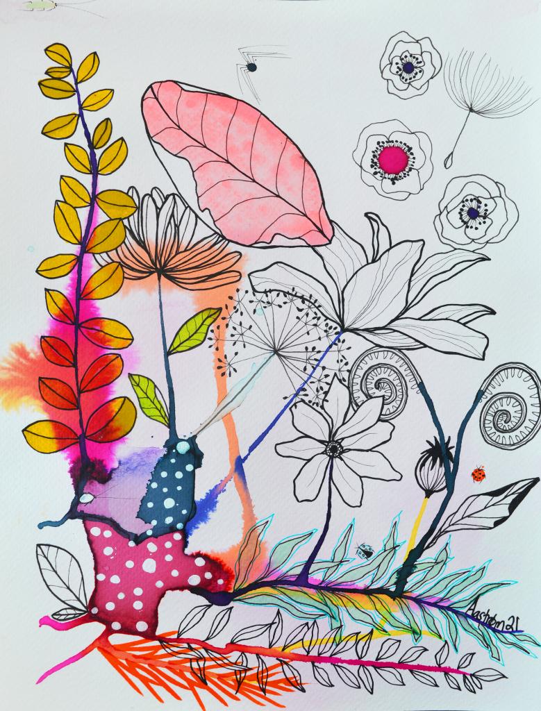 bjørn Wiinblad, blomster maleri, blomster illustration, botanisk illustration, botanisk tegning, botanical art