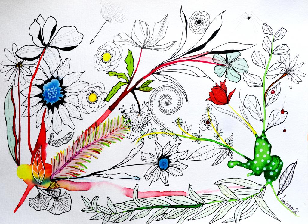 bjørn Wiinblad, blomster maleri, botanik, botanisk illustration